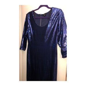 Blue sequin shift dress